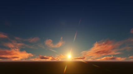 dark sky with golden sunset