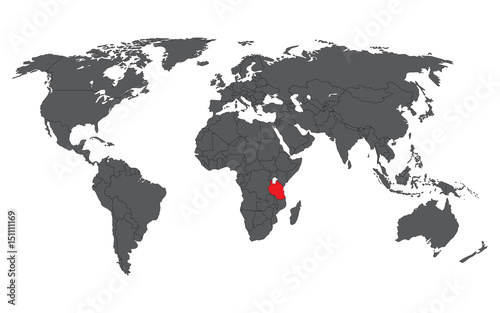 Tanzania red on gray world map vector stock image and royalty free tanzania red on gray world map vector gumiabroncs Choice Image