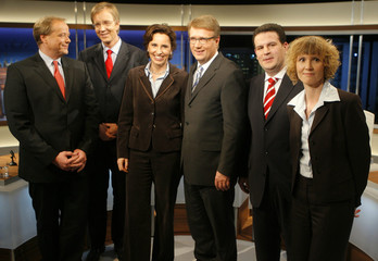 German political party secretary generals pose ahead of TV discussion in Berlin