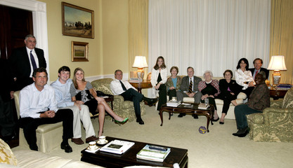 U.S. President George W. Bush watches returns from the presidential election with his family at the ...