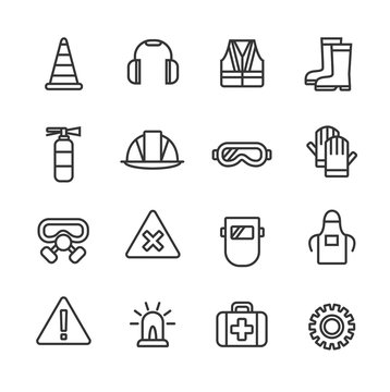 Work safety - wear and equipment. Line icon set.