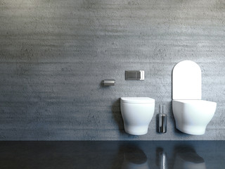 modern bathroom with concrete wall. 3D rendering
