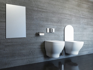 Concrete tiles in modern, spacious bathroom. 3D rendering