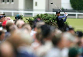 Tiger Woods of the US watches his drive from the second tee during the British Open in St. Andrews.