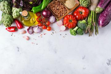 Assortment of fresh organic farmer market vegetables