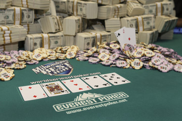 Peter Eastgate's winning hand is displayed after Eastgate defeated Ivan Demidov of Russia in Las Vegas