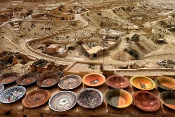 Tunisian traditional Berber pottery, Chenini, Ksour, Tunisia