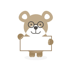 cute flat bear character with banner and glasses