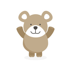 cute flat bear character with happy face