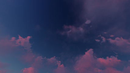 dark blue sky with many beautiful pink clouds