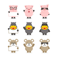 cute set of pig, hippo and bear character