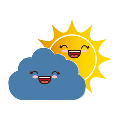 kawaii sun and cloud icon over white background. colorful design. vector illustration