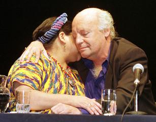 URUGUAYAN WRITER GALEANO EMBRACES NOBEL PEACE PRIZE MENCHU.