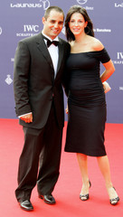 Colombia's Formula One driver Montoya and his wife Connie arrive at Laureus World Awards ceremony in Barcelona