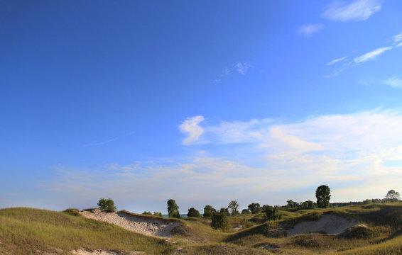Dunes and blue sky in Kohler-Andrae State Park - Sheboygan - Wisconsin