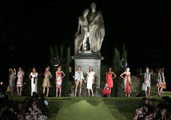 Models display creations by U.S. fashion designer Von Furstenberg during a preview of her 2009 resort wear collection in Florence