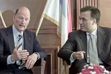 BULGARIAN PRIME MINISTER SAXE-COBURG-GOTHA GESTURES DURING TALKS WITH MONTENEGRIN PRESIDENT ...