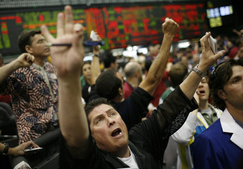 Traders call out trades on the floor of the Chicago Mercantile Exchange