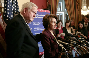 Defense Appropriations Subcommittee Chairman Murtha and Speaker of the House Pelosi speak in Washington