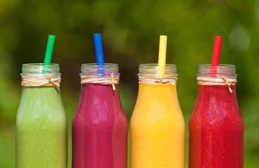 Assortment of fruit, berry and vegetable smoothies.
