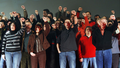 ANV Spanish General Election candidates gesture during political meeeting in Pamplona.