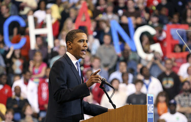US Democratic presidential candidate Senator Barack Obama (D-IL) delivers his speech at his South Dakota and Montana presidential primary election night rally at the Xcel Energy Center in St. Paul