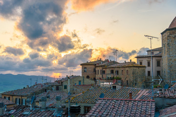 Aerial view of the city of Volterra during sunset