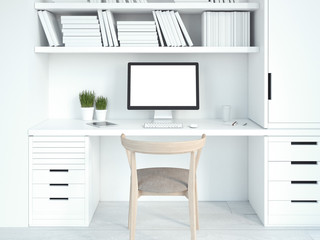 Modern white interior with workplace. 3d rendering