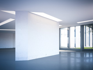 Modern office hall with blank wall. 3d rendering