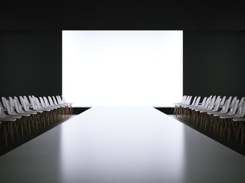 Empty white runway and chairs. 3d rendering