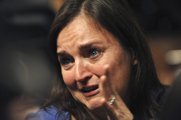 American university student Knox's mother Edda cries after her daughter's speech during the her murder trial in Perugia