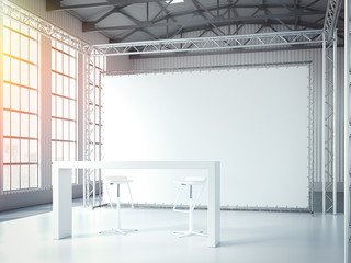 Empty stage with two chairs, table and blank billboard. 3d rendering
