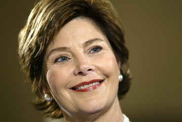 First lady Laura Bush delivers an education briefing in the Senate Russell Building, January 24, 200..