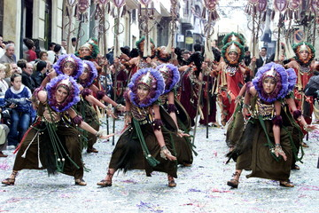 PEOPLE REENACT THE ENTRANCE OF THE MOORS DURING ANNUAL PAGEANT IN EASTERN SPAIN