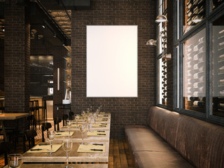 Interior of the vintage restaurant and blank canvas. 3d rendering