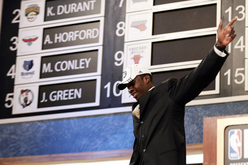 Green from Georgetown University waves to crowd after being selected as the fifth overall pick by the Boston Celtics in the 2007 NBA Draft at Madison Square Garden in New York