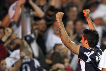 Bordeaux's Fernando Menegazzo celebrates scoring against Sochaux during French Ligue 1 soccer match in Bordeaux