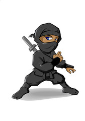 Ninja Mascot or cartoon character ready to fight without weapon. Vector icon illustration.