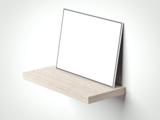 Blank picture frame on the wooden shelf. 3d rendering