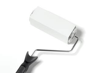 Paint roller with blank label. 3d rendering