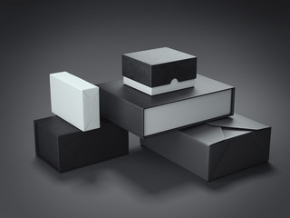 Different types of black boxes. 3d rendering