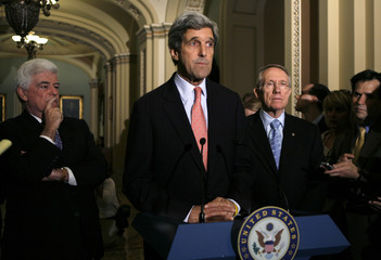 John Kerry speaks about the condition of Ted Kennedy in Washington