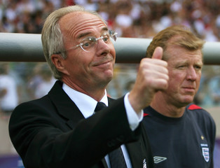 England manager Sven-Goran Eriksson gestures beside assistant coach Steve McClaren before the start of their second round World Cup 2006 soccer match against Ecuador in Stuttgart
