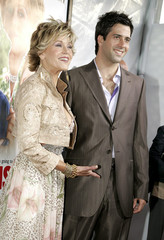 "Jane Fonda (L) and her son Troy Garity arrive at the premiere of ""Monster-in-Law"" at the Mann National ..."