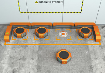 Warehouse robots charging in charging station. Advanced warehouse robotics technology concept. 3D rendering image.