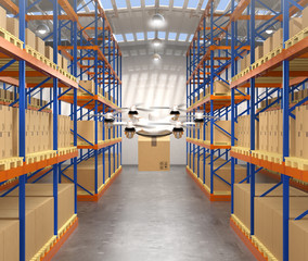 Front view of drone carrying cargo in modern warehouse. 3D rendering image.