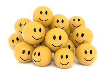 yellow smileys in social media concept on isolated white 3D rendering