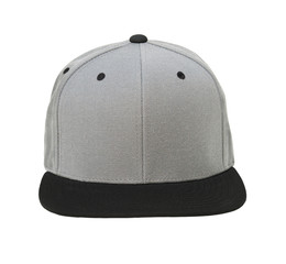 Blank flat snap back grey/black hat front view on white background
