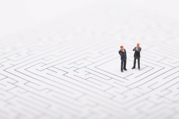 Businessman trapped in maze