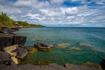 boulders, lake superior, spring